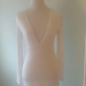 Asos white deep neck midi dress.